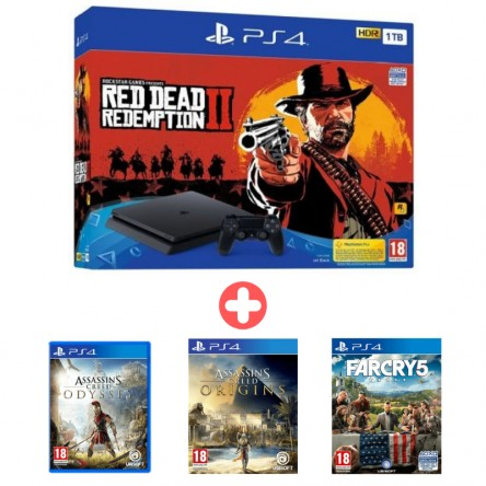 Sony Playstation 4 Slim 1TB + Red Dead Redemption 2 + Assassins Creed Origins + Assassins Creed Odyssey + Far Cry 5